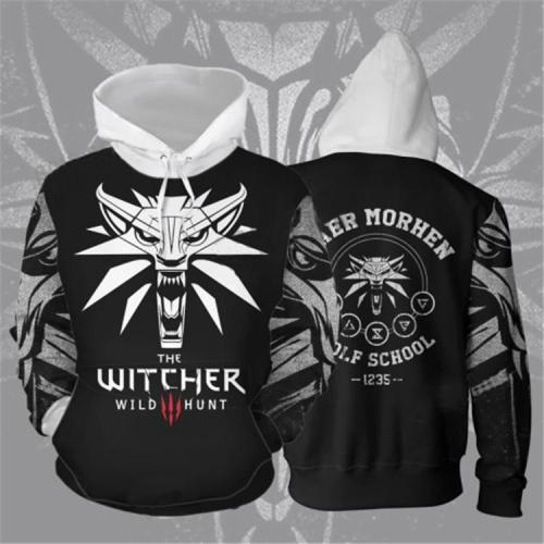 The Witcher Game White Ferocious Wolf Cosplay Unisex 3D Printed Hoodie Sweatshirt Pullover