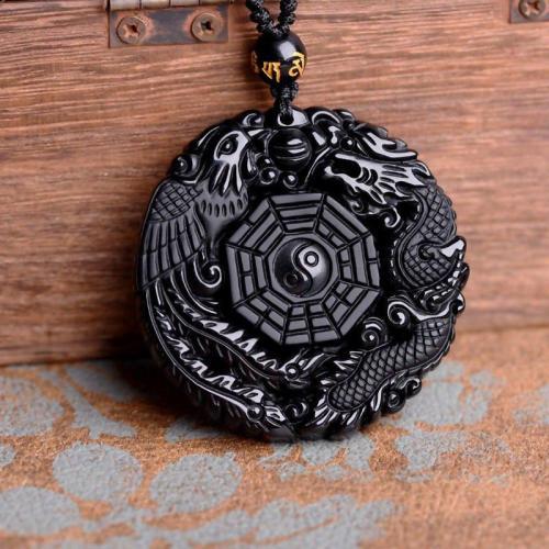 Black Dragon/Phoenix Obsidian Amulet