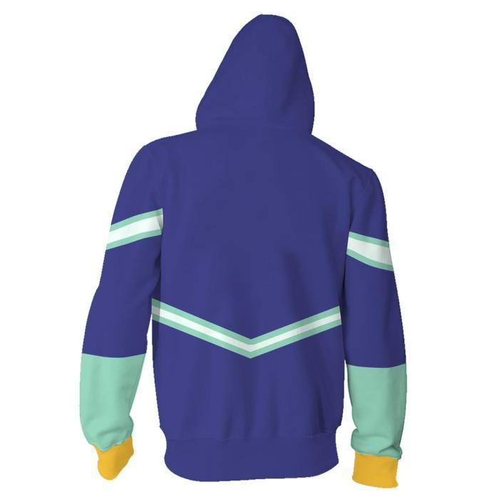 My Hero Academia Anime Nejire Hado Blue Cosplay Unisex 3D Printed Mha Hoodie Sweatshirt Jacket With Zipper