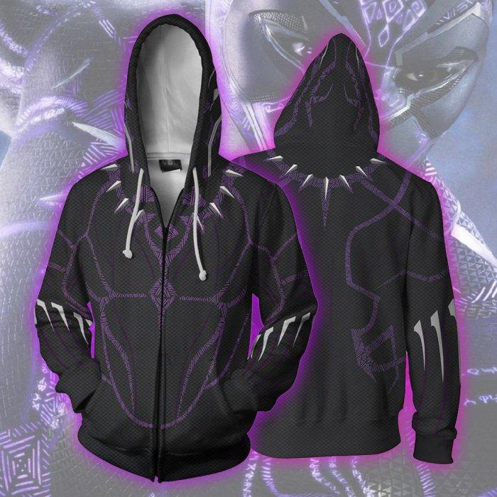 Avengers Movie T Challa Black Panther 4 Purple Cosplay Unisex 3D Printed Hoodie Sweatshirt Jacket With Zipper