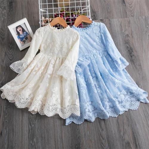 Spring Girls Long Sleeve Lace Elegant Princess Dress For Kids Wedding And Birthday Party Vestidos