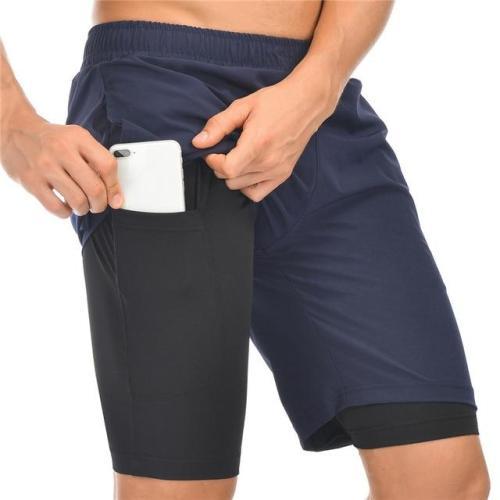 Men Running Shorts Jogging Gym Fitness Training Quick Dry 2 In 1 Beach
