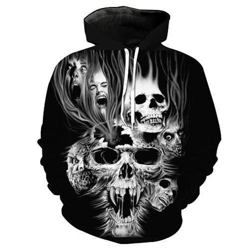 Screaming Skull 3D Sweatshirt Hoodie Pullover