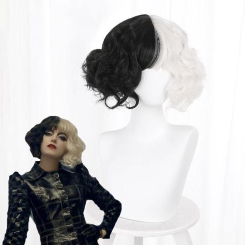 Disney Movie Cruella De Vil Black White Cosplay Wig