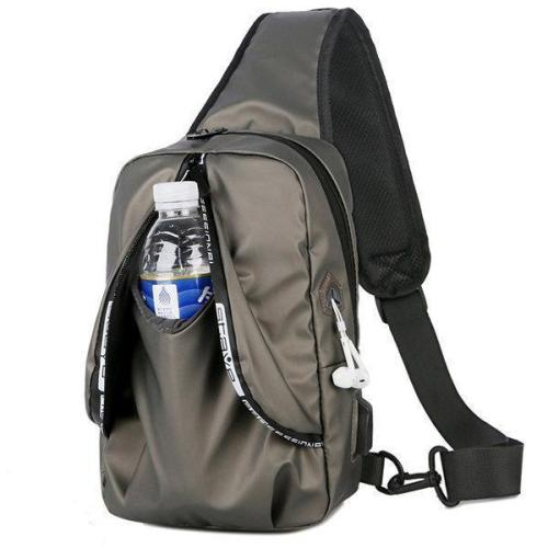 Men Oxford Usb Charging Chest Bag Casual Crossbody Bag