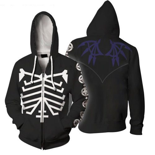 The World Ends With You Game Skeleton Cosplay Unisex 3D Printed Mha Hoodie Sweatshirt Jacket With Zipper