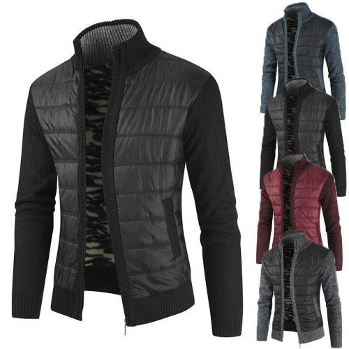 Sell Like  Cakes Men'S Stitching Colorblock Stand-Collar Coat