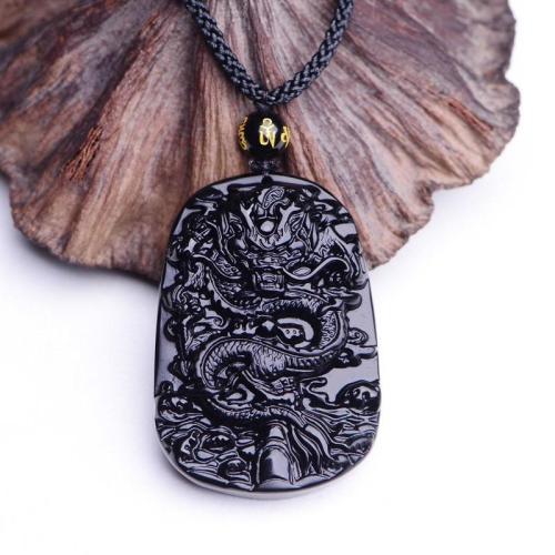 Dragon King Black Obsidian Amulet