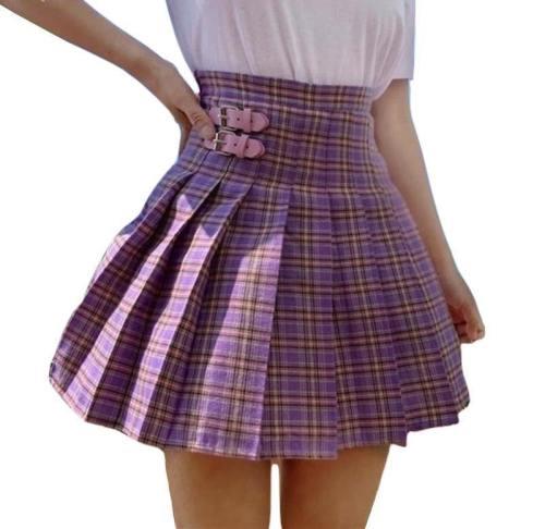 Purple Plaid High Waist Skirt