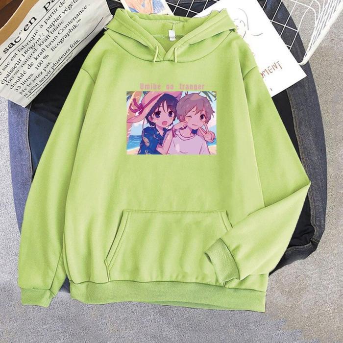Mio And Shun Umibe No Etranger Anime Printed Loose Hoodie Long Sleeve Sweatshirt Pullover