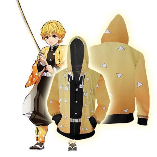Demon Slayer Anime Agatsuma Zenitsu Swordsman Triangle Pattern Yellow Cosplay Unisex 3D Printed Hoodie Sweatshirt Jacket With Zipper
