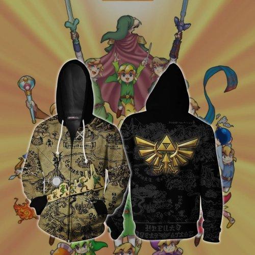 The Legend Of Zelda Game Map Unisex 3D Printed Hoodie Sweatshirt Jacket With Zipper
