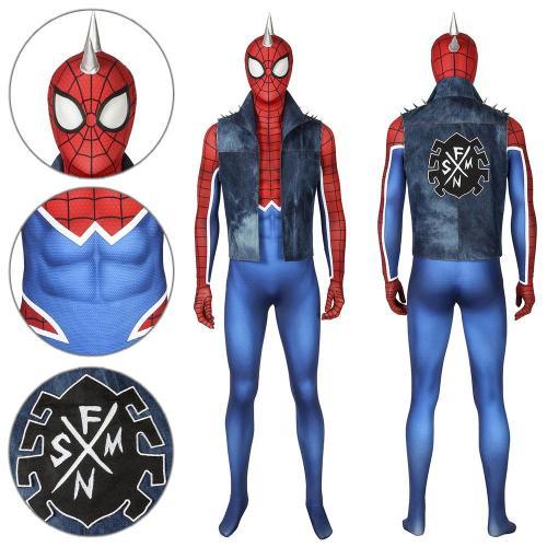 Peter Parker Punk Rock Suit Ps4 Spider-Man Jumpsuit Cosplay Costume -