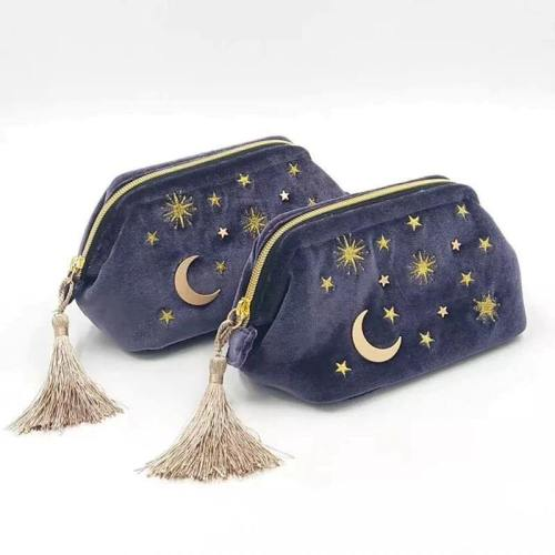 Handy Embroidered Moon And Stars Cosmetic Bag With Chic Tassels