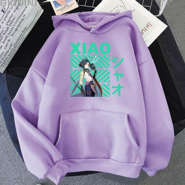 Game Genshin Impact Print Hoodie Loose Xiao Cool Kpop Sweatshirt Pullover Unisex Harajuku Anime Tracksuit