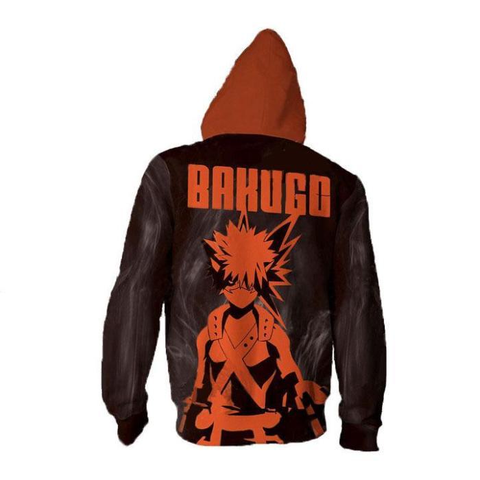 My Hero Academia Anime Bakugou Explosion Cosplay Unisex 3D Printed Mha Hoodie Sweatshirt Jacket With Zipper