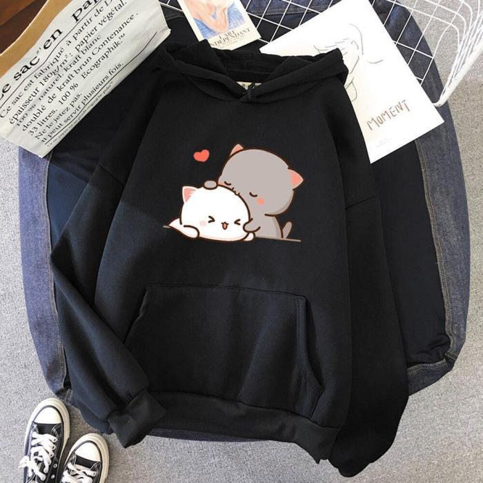 Peach Cat Kawaii Aestheticcute Pink Tops Oversize Sweatshirt Cartoon Print Unisex Warm Hoodie