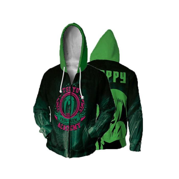 My Hero Academia Anime Asui Tsuyu Frog Froppy Cosplay Unisex 3D Printed Mha Hoodie Sweatshirt Jacket With Zipper