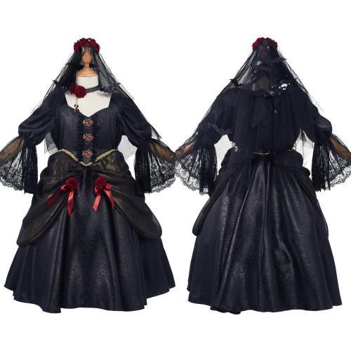 Vampire Bride Kids Children Girls Dress Outfits Halloween Carnival Suit Cosplay Costume