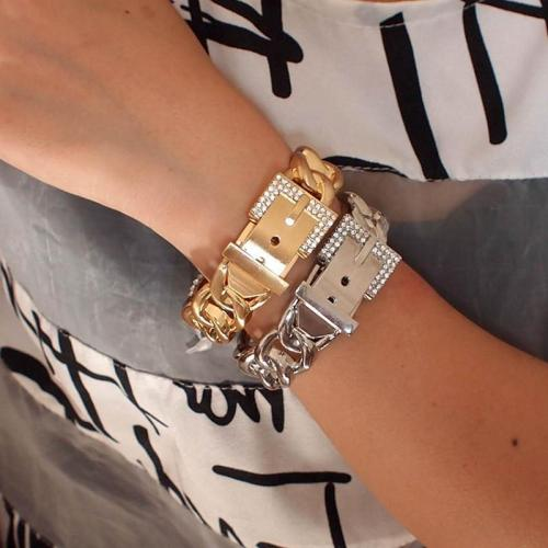 Timeless Rhinestones Metal Bangle Bracelets