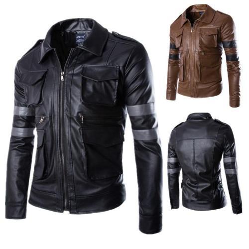 Autumn/Winter Man Hunts Three-Dimensional Pocket Leather Clothes