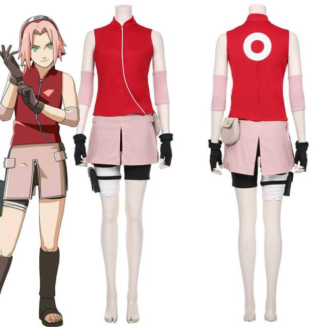 Haruno Sakura Cosplay Costume Skirt Outfit Halloween Carnival Costumes