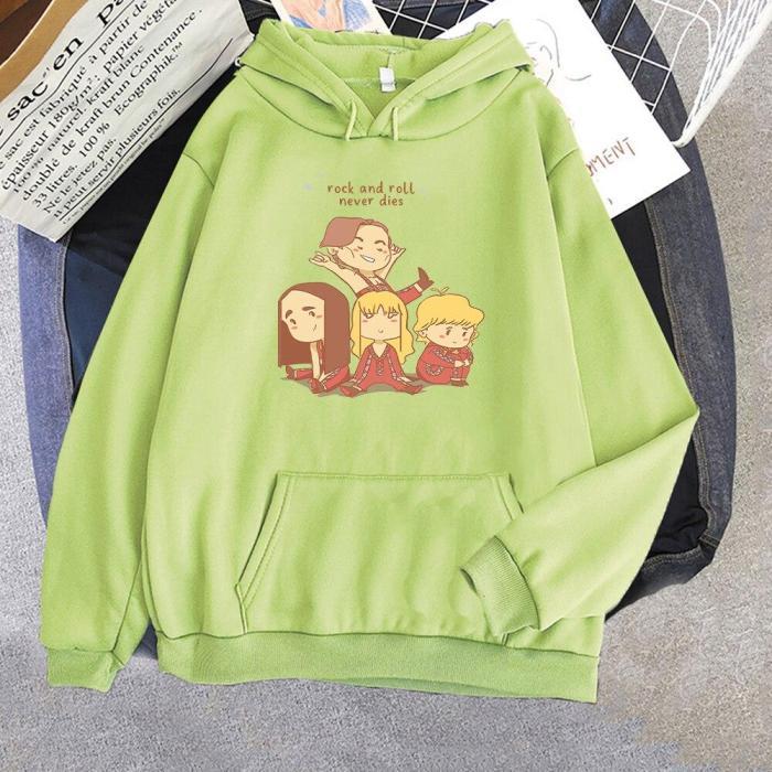 Maneskin Kawaii Hoodie Loose Aesthetic Anime Cartoon Print Tops Harajuku Casual Sweatshirt Pullover