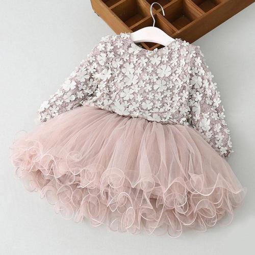 Winter Long Sleeves Girls Birthday Flower Design Princess Lace Tutu Dress For Kids