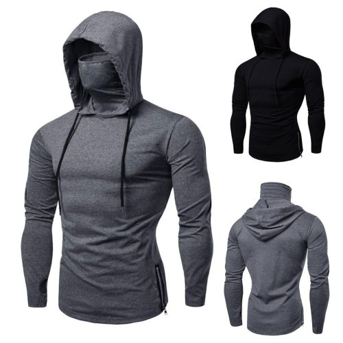 Mens Gym Thin Hoodie Long Sleeve With Mask Sweatshirt