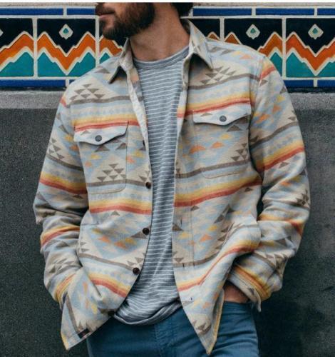 Mens Fashion Stylish Printed Lapel Pocket Shirt