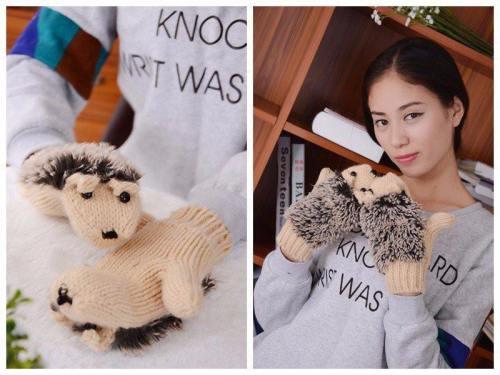 Knit Cotton Hedgehog Gloves