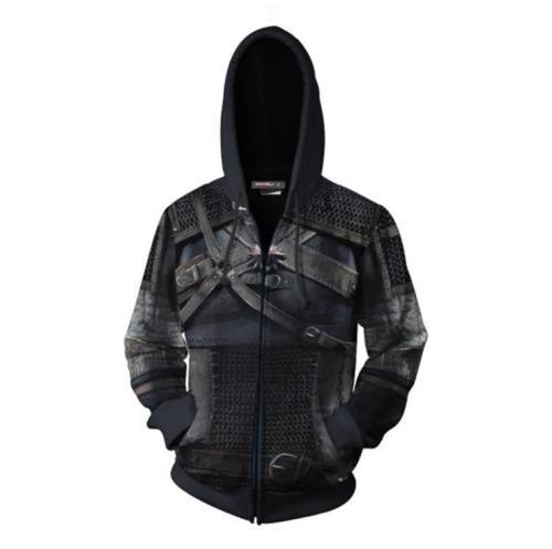 Wizard Series Black Demon Hunter Geralt Game Unisex 3D Printed Hoodie Sweatshirt Jacket With Zipper
