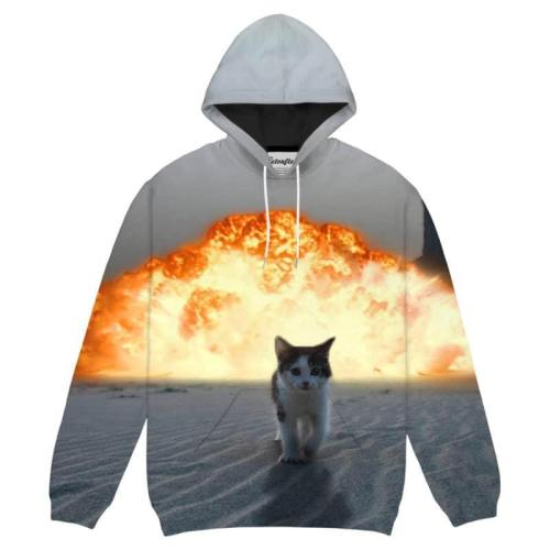 Men'S 3D Print Hoodies Cat Fashion Casual Streetwear
