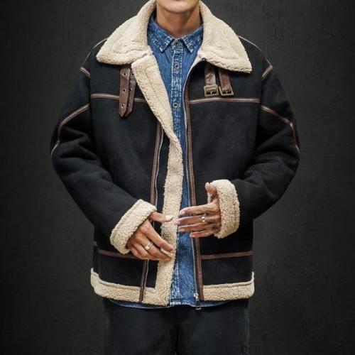 Mens Fleece Jackets Loose Streetwear Parkas