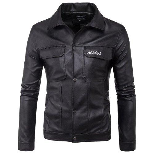 Men'S Stand Collar Men'S Leather Jacket