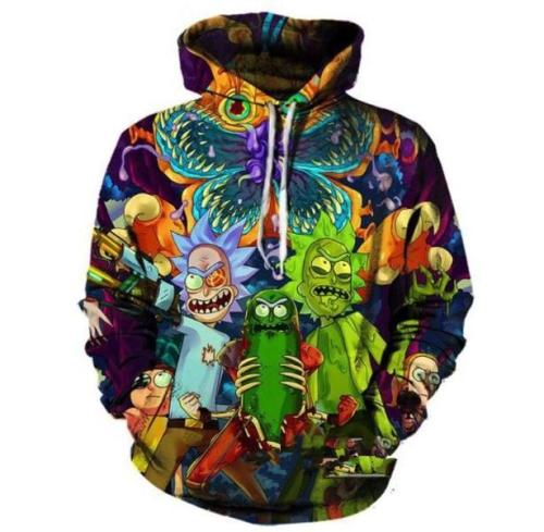 Rick And Morty Alien Parasite Invasion Anime Unisex 3D Printed Hoodie Pullover Sweatshirt