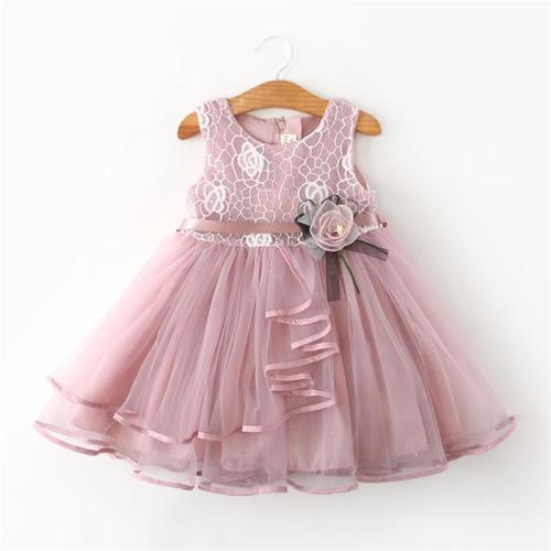 Lace Little Princess Summer Solid Sleeveless Tulle Tutu Dress For Girls