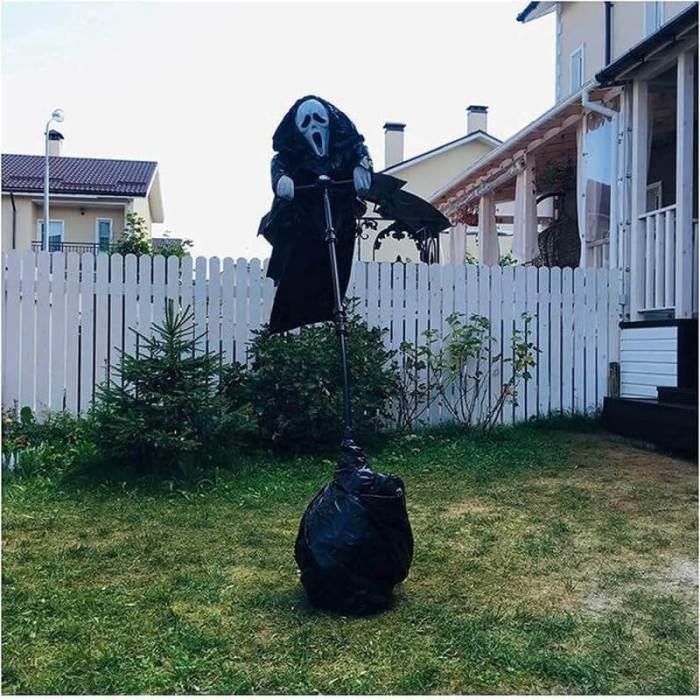 Halloween Diy Creative Ghostface Garden Scarecrow Outdoor Decorations