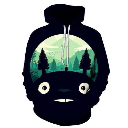 Totoro Head 3D Sweatshirt Hoodie Pullover
