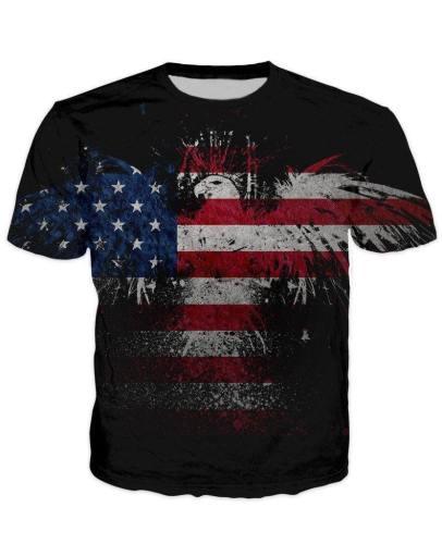 Abstract Eagle Usa Flag T-Shirt V2