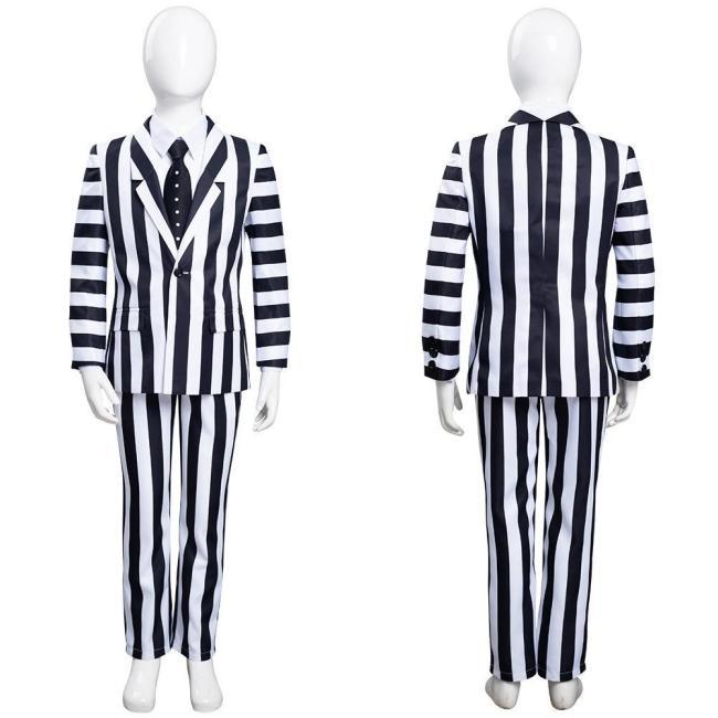 Beetlejuice Kids Children Striped Uniform Pants Halloween Carnival Suit Cosplay Costume