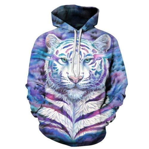 Purple Striped White Tiger 3D Sweatshirt Hoodie Pullover
