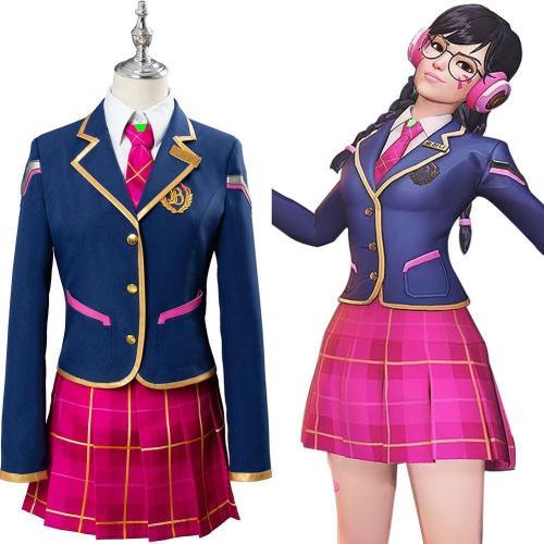 Full Set Ow Cosplay Hana Song D.Va Costume Dva School Uniform Suit Academy Dress Outfit Girls Adult Halloween Carnival Costume