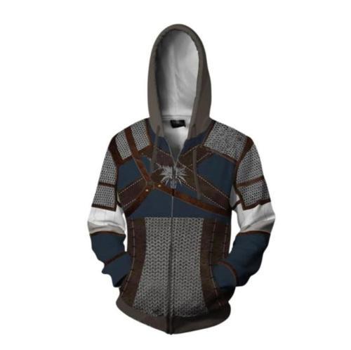 Wizard Series Demon Hunter Geralt Game Unisex 3D Printed Hoodie Sweatshirt Jacket With Zipper