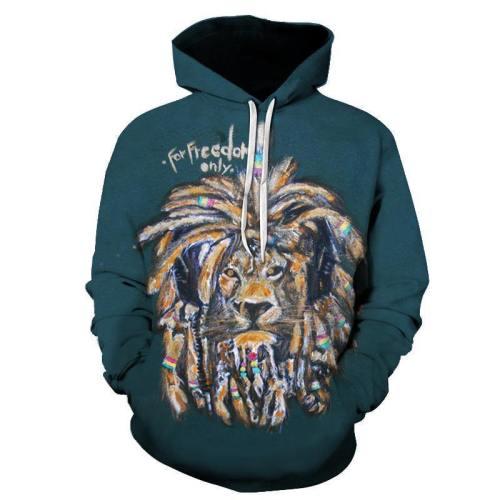 Freedom Lion 3D Sweatshirt Hoodie Pullover