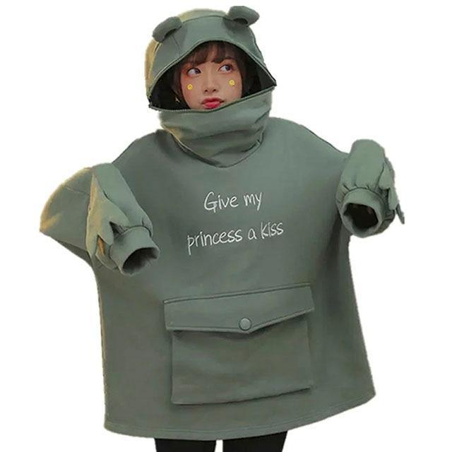 Harajuku Frog Pullover Casual Sweatshirts Embroidery Loose Top Doll Decoration Hoodie