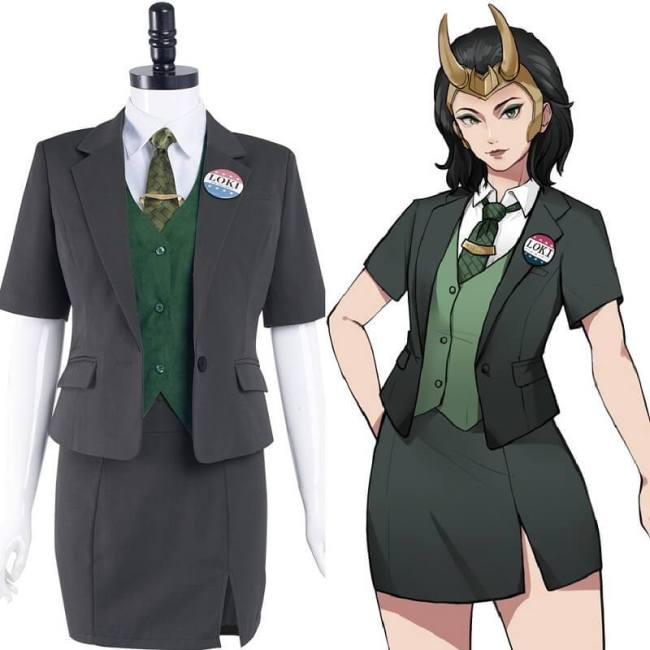 Lady Loki For President Cosplay Costume Halloween Uniform Skirt Outfits