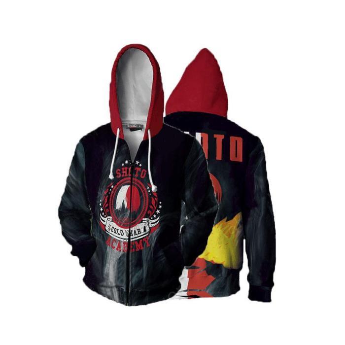 My Hero Academia Anime Todoroki So Half Cold Cosplay Unisex 3D Printed Mha Hoodie Sweatshirt Jacket With Zipper