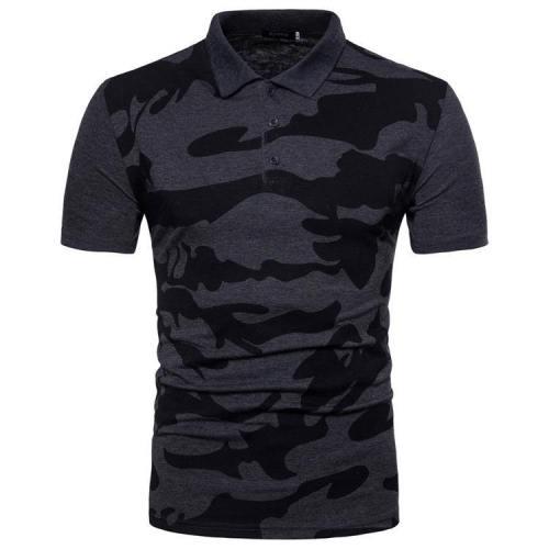 Men'S Camouflage Spilce Color Casual Lapel Polo Shirt