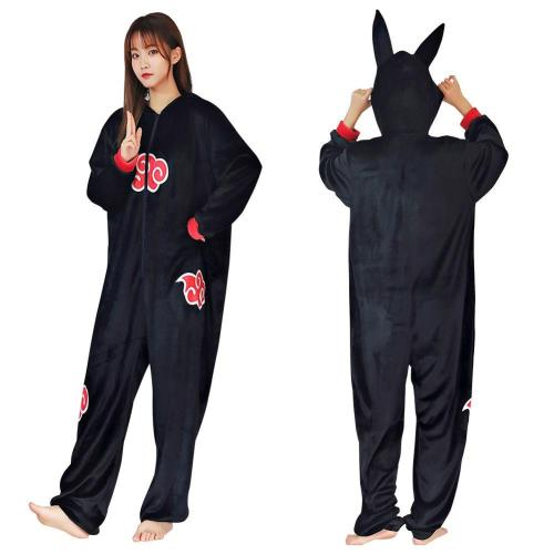 Anime Naruto Akatsuki Cloud Pajama Adult Unisex Onesies Polyester Sleepwear Pyjamas Halloween Carnival Costume Cosplay Costume